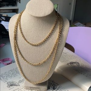 Vintage Kenneth Jay Lane Long Gold Chain Necklace